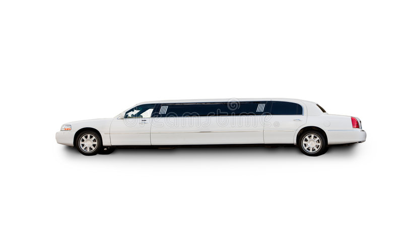 Isolted Limousine. An isolated limousine on white stock images