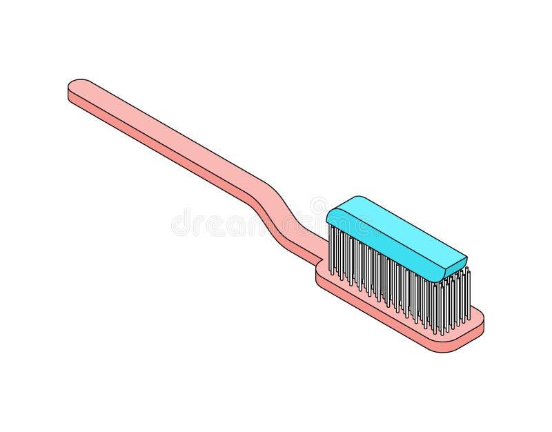 Isométrico da escova de dentes isolado Estilo dos desenhos animados da ilustração do vetor ilustração do vetor