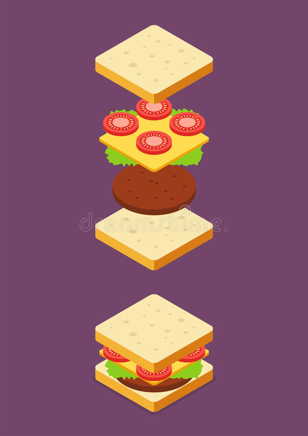 Isométrico de ingredientes do sanduíche ilustração do vetor