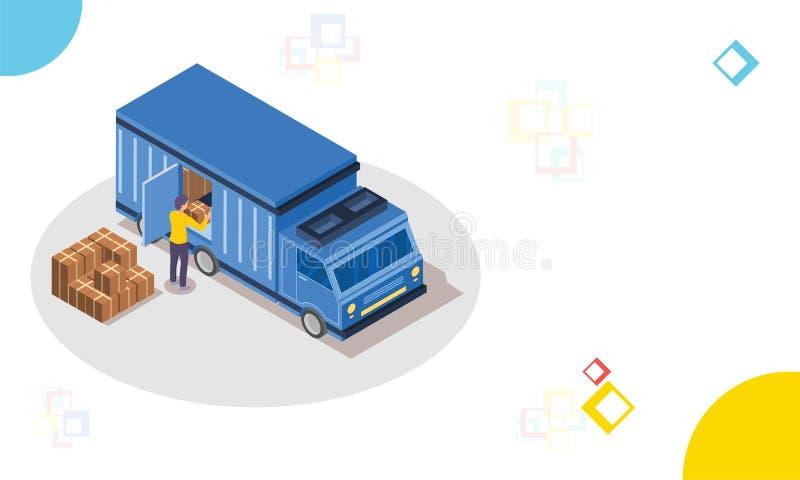 Isométrico entregue el camión, cajas del paquete del cargamento del hombre, logística o stock de ilustración