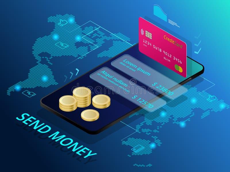 Isométrico envíe el dinero Concepto en línea del interfaz de la transferencia monetaria Tecnología moderna y transacción en línea libre illustration