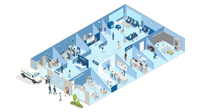 Isométrico interior do banco ilustração royalty free