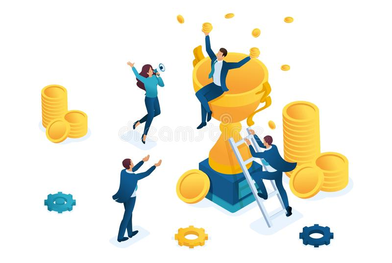 Isométrico o sucesso dos trabalhos de equipe, a alegria do chefe e empregados, vencedor Conceito para o design web ilustração do vetor