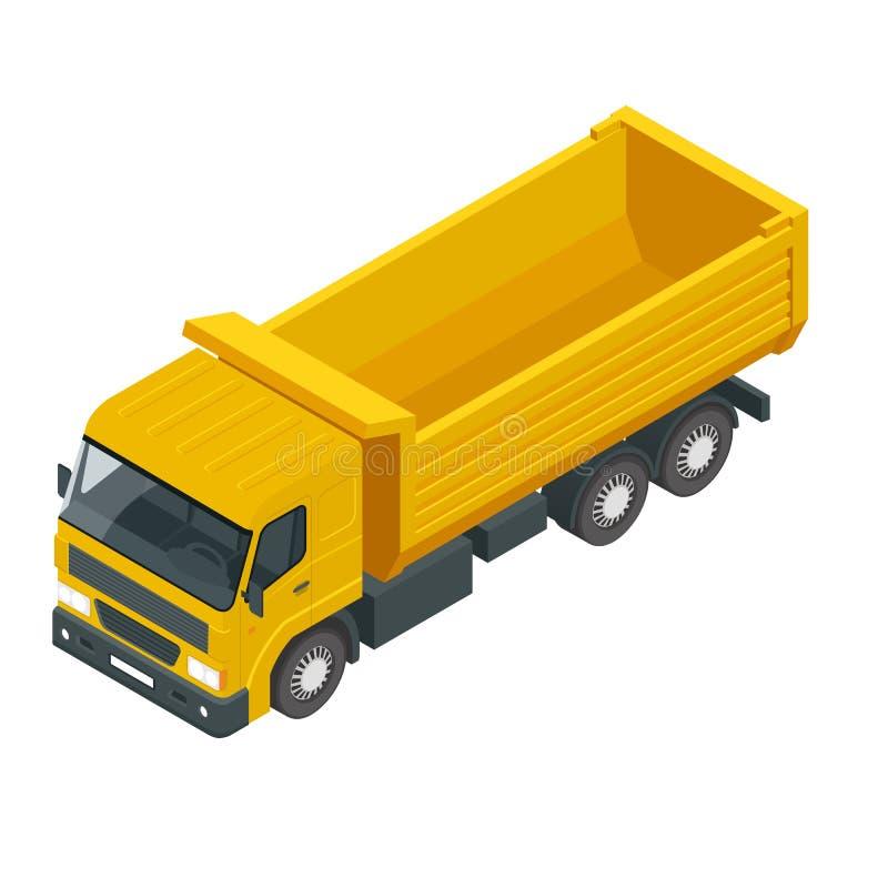 Isométrico um caminhão basculante, descarregador, caminhão de caminhão basculante isolado no branco ilustração royalty free