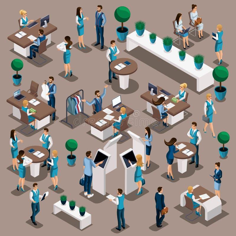 Isométrico un sistema de directores de banco en trabajo en la oficina del ` s del banco, la emisión de préstamos, depósitos, serv ilustración del vector