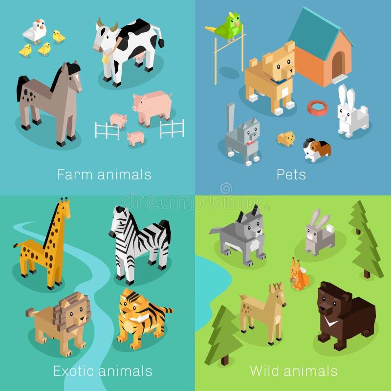 Isométrique réglé sauvage exotique et de ferme d'animal illustration libre de droits