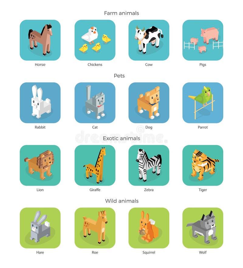 Isométrique réglé sauvage exotique et de ferme d'animal illustration stock