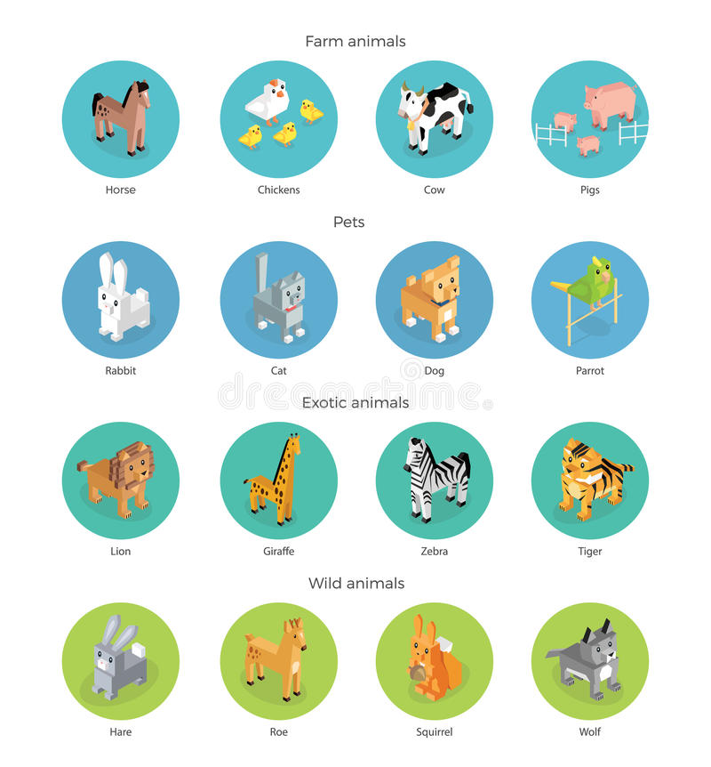 Isométrique réglé sauvage exotique et de ferme d'animal illustration de vecteur