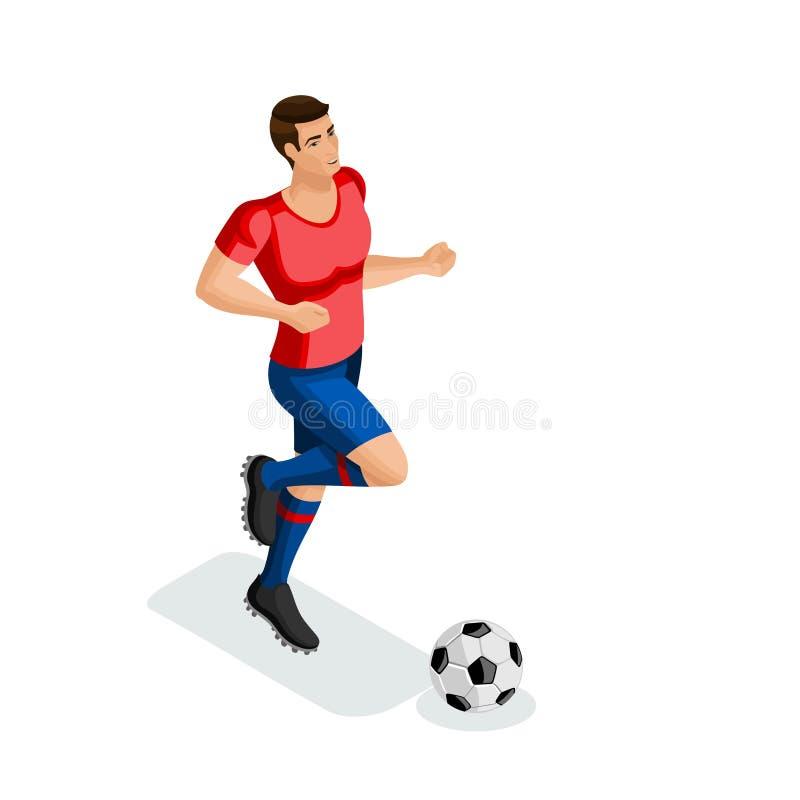 Isométrique un homme joue au football, formation, fonctionnement, la boule, préparation pour le match Match de football illustration stock
