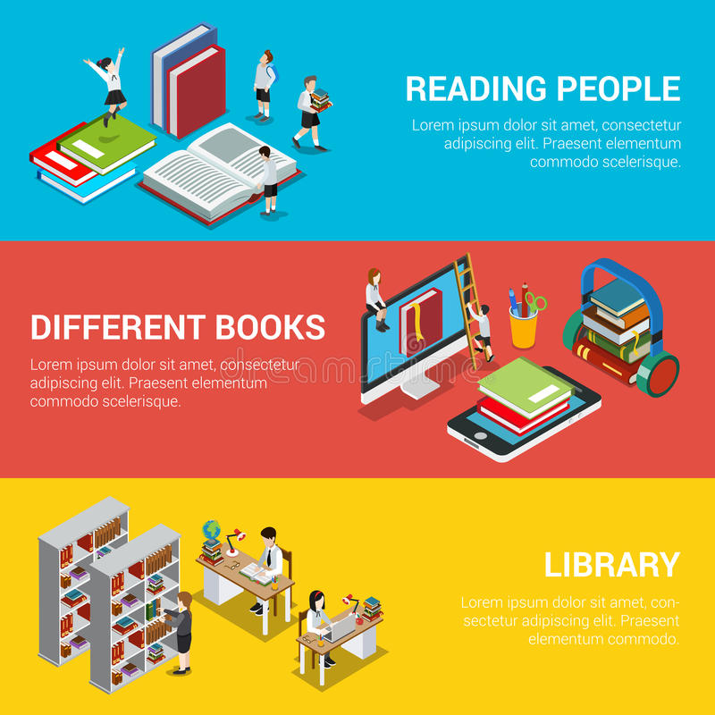 Isom plano de la biblioteca 3d del libro de la gente de la lectura diverso libre illustration