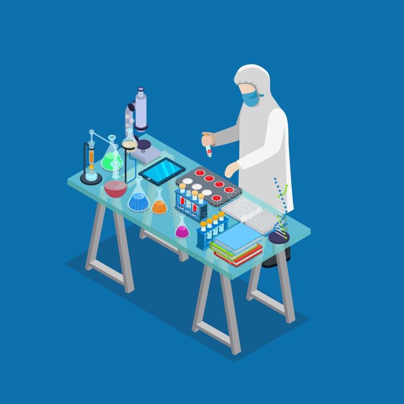 Isom plat chimique de recherches d'expérience de laboratoire de la Science illustration libre de droits