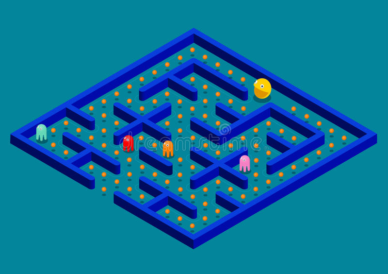 Isomeric Game concept with ghosts. Modern arcade video game interface design elements. Game world. Computer or mobile royalty free illustration