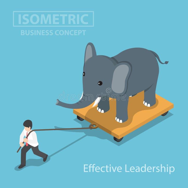 Isometic商人拉扯大象在推车的那个身分 皇族释放例证
