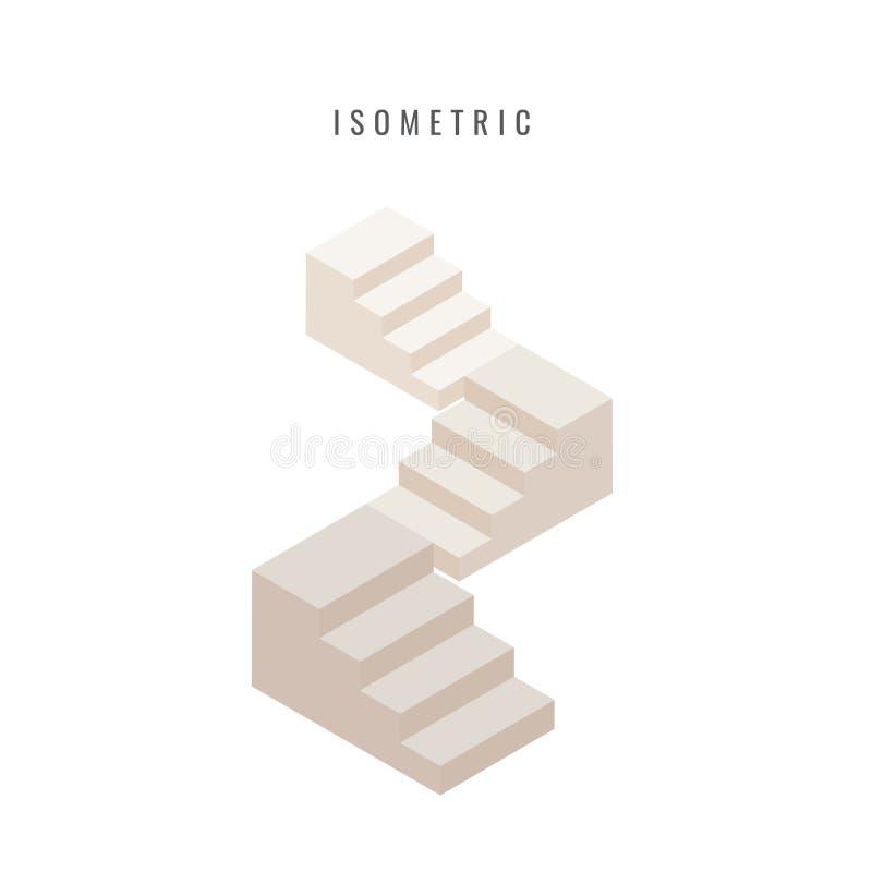 isometric ícone Ajuste a escadaria 3d concreta Anule acima do isolador da escada ilustração do vetor