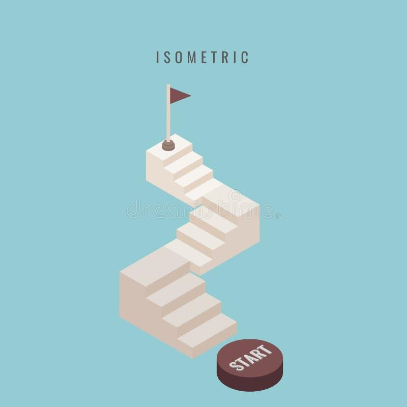 isometric ícone Ajuste a escadaria 3d concreta Anule acima do isolador da escada ilustração royalty free
