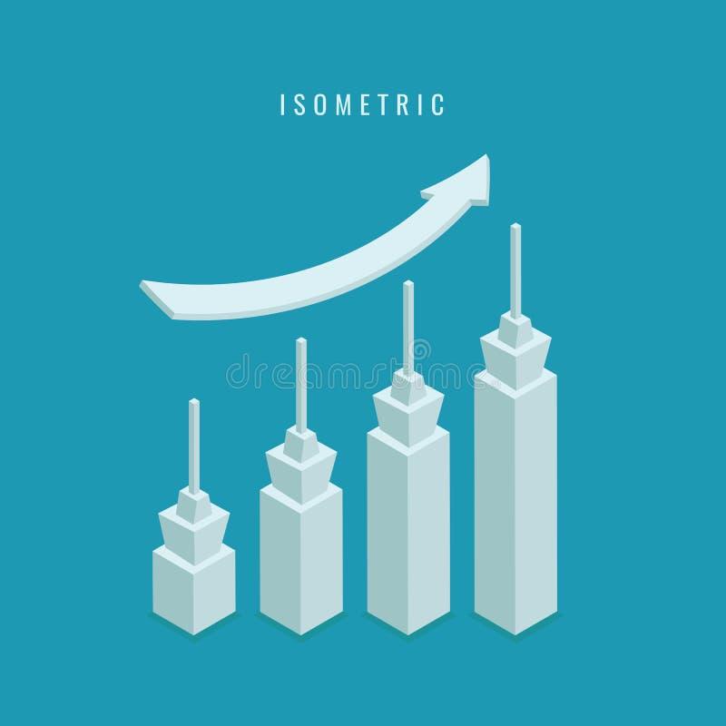 isometric ícone Gráfico da construção do negócio Ilustração do vetor ilustração royalty free