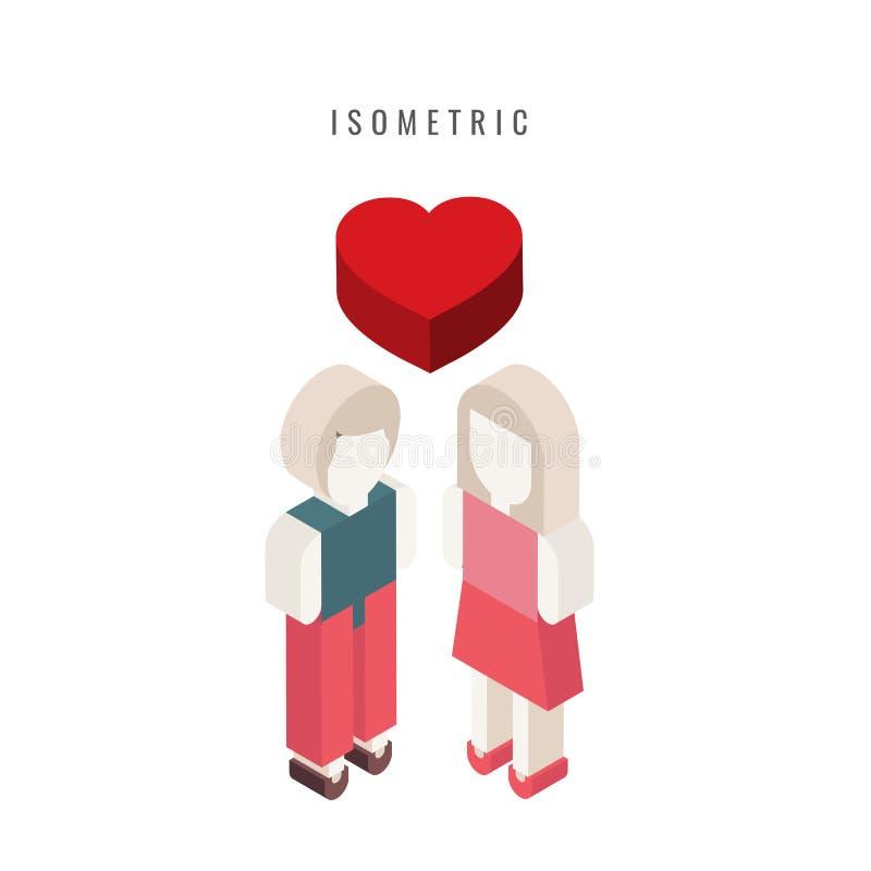 isometric ícone valentine Homem e mulher do coração Símbolo do vetor ilustração royalty free