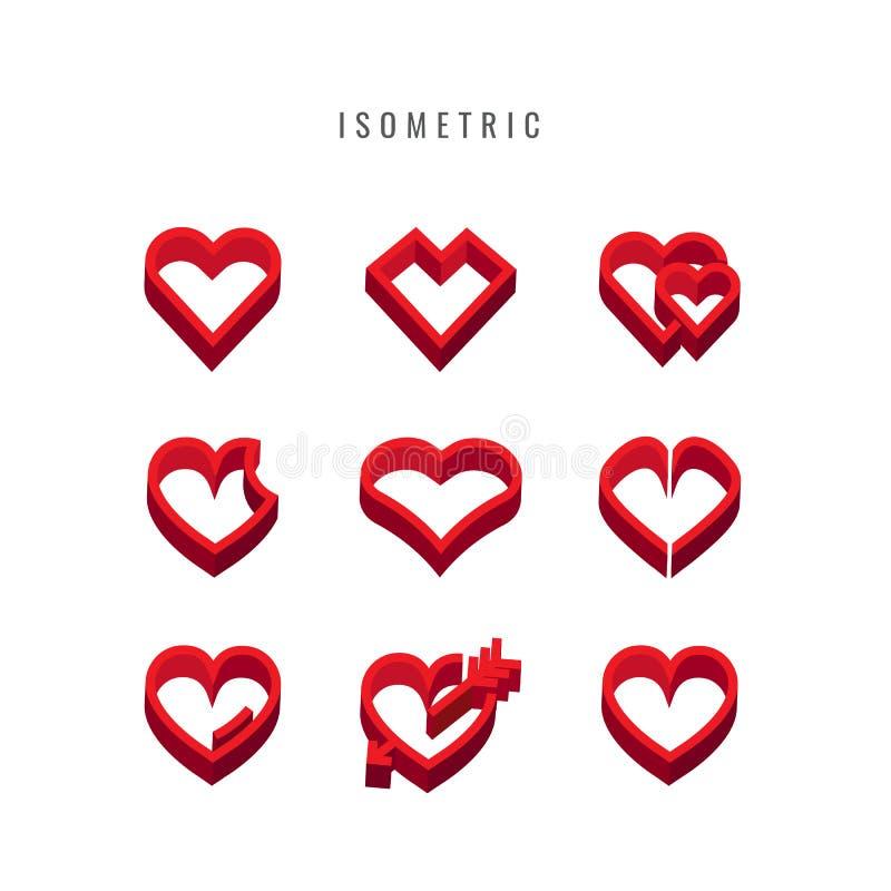 isometric ícone valentine Projeto da coleção das formas do coração Vec ilustração stock