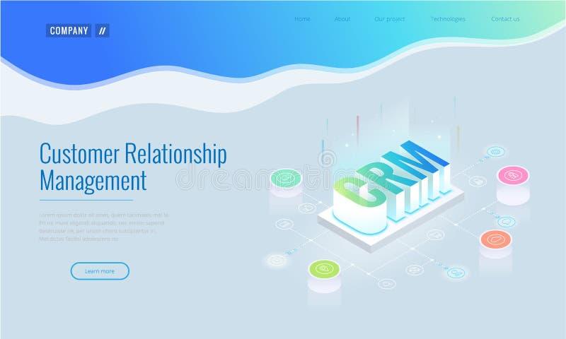 Isometric έμβλημα Ιστού CRM Διοικητική έννοια σχέσης πελατών Διανυσματική απεικόνιση τεχνολογίας επιχειρησιακού Διαδικτύου διανυσματική απεικόνιση
