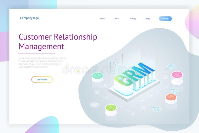 Isometric έμβλημα Ιστού CRM Διοικητική έννοια σχέσης πελατών Διανυσματική απεικόνιση τεχνολογίας επιχειρησιακού Διαδικτύου απεικόνιση αποθεμάτων