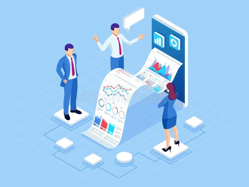 Isometric έννοια της επιχειρησιακής ανάλυσης, analytics, έρευνα, στατιστική στρατηγικής, προγραμματισμός, μάρκετινγκ, μελέτη διανυσματική απεικόνιση