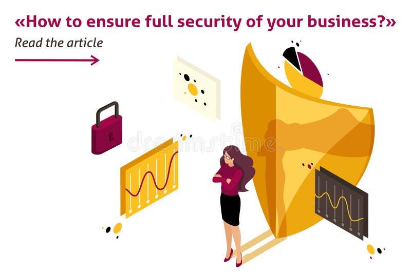 Isometric ασφάλεια της επιχείρησής σας ελεύθερη απεικόνιση δικαιώματος