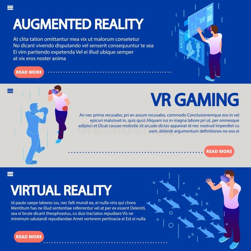 Isometric αυξημένη πραγματικότητα από τις ηλεκτρονικές γυαλιού εικονικής πραγματικότητας διανυσματικές απεικονίσεις εμβλημάτων έν διανυσματική απεικόνιση