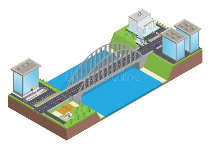 Isometric εθνική οδός στη γέφυρα πέρα από τον ποταμό απεικόνιση αποθεμάτων