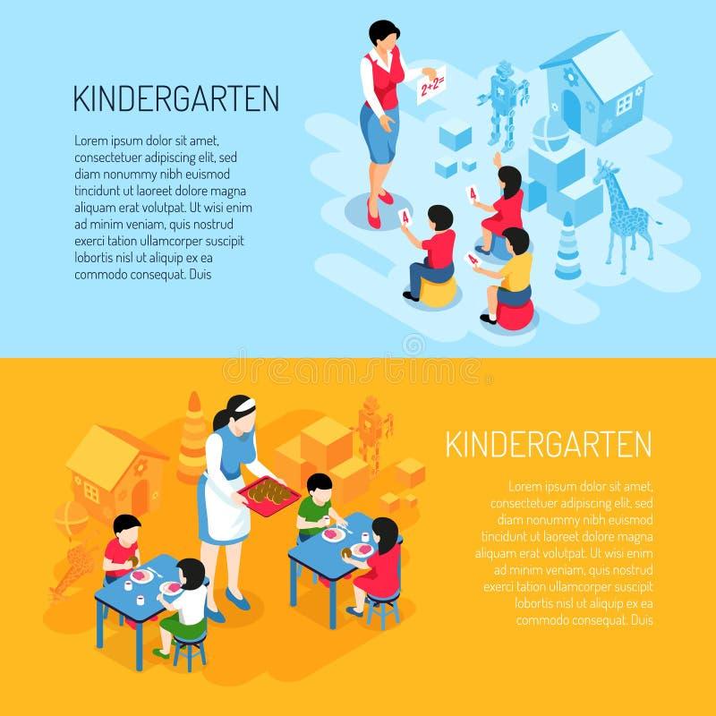 Isometric εμβλήματα παιδικών σταθμών απεικόνιση αποθεμάτων