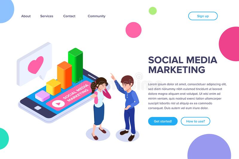 Isometric κοινωνικά μέσα που εμπορεύονται την έννοια Ένας υπάλληλος μιλά για τη σημασία την επιχείρηση στα κοινωνικά δίκτυα στοκ εικόνες