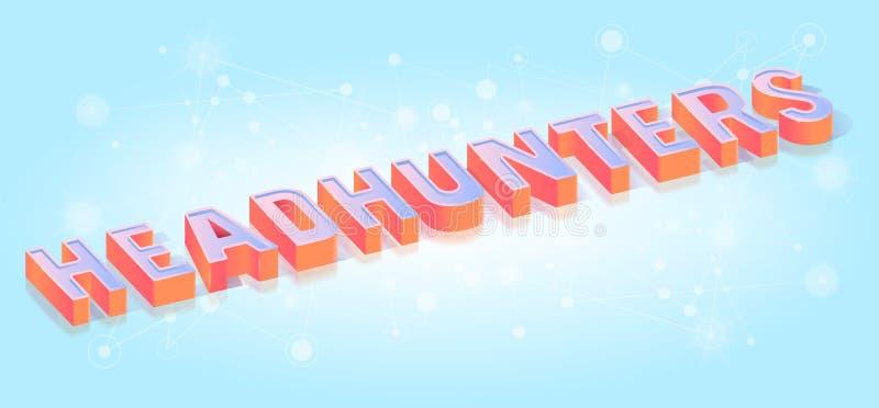 Isometric διανυσματικό πρότυπο τίτλου κειμένων Headhunters ελεύθερη απεικόνιση δικαιώματος