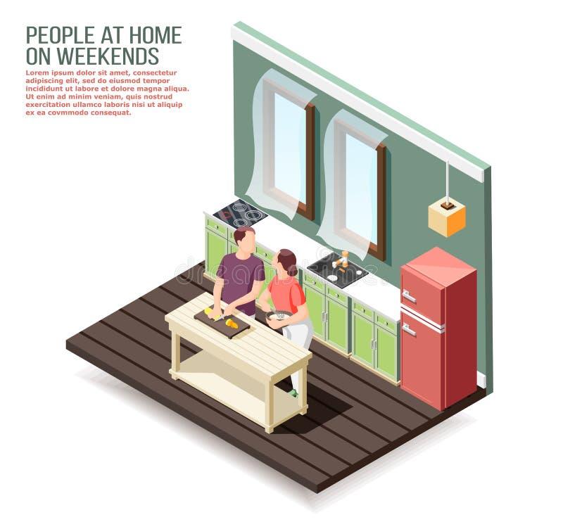 Isometric σύνθεση Σαββατοκύριακου στο σπίτι ελεύθερη απεικόνιση δικαιώματος