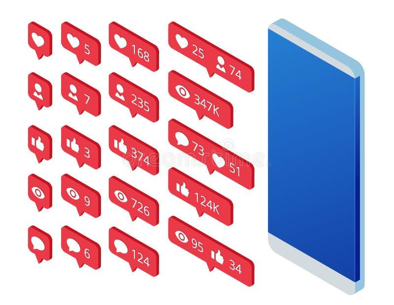 Isometric σύνολο εικονιδίου όπως, σχολίου εικονιδίων οπαδών εικονιδίων και τηλεφώνου Επικοινωνία στα κοινωνικά δίκτυα Οθόνη με σύ απεικόνιση αποθεμάτων