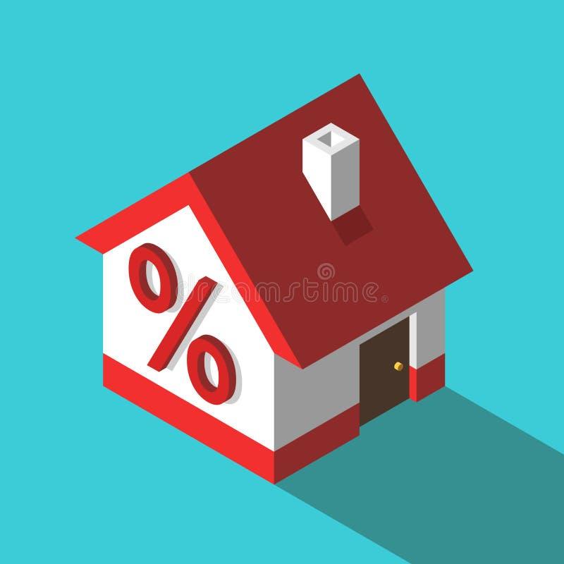 Isometric σπίτι, σημάδι τοις εκατό απεικόνιση αποθεμάτων