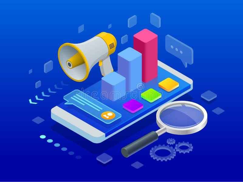 Isometric ψηφιακό μάρκετινγκ, έννοια εμπορικής στρατηγικής επίσης corel σύρετε το διάνυσμα απεικόνισης απεικόνιση αποθεμάτων