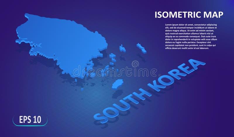 Isometric χάρτης της ΝΟΤΙΑΣ ΚΟΡΕΑΣ Τυποποιημένος επίπεδος χάρτης της χώρας στο μπλε υπόβαθρο Σύγχρονος isometric τρισδιάστατος χά ελεύθερη απεικόνιση δικαιώματος