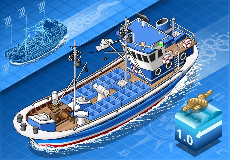 Isometric łódź rybacka w nawigaci w Frontowym widoku royalty ilustracja