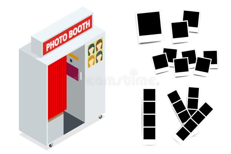 Isometric Ścisłe fotografii budka i fotografii ramy Mieszkania 3d isometric ilustracja Dla infographics i projekta gier royalty ilustracja