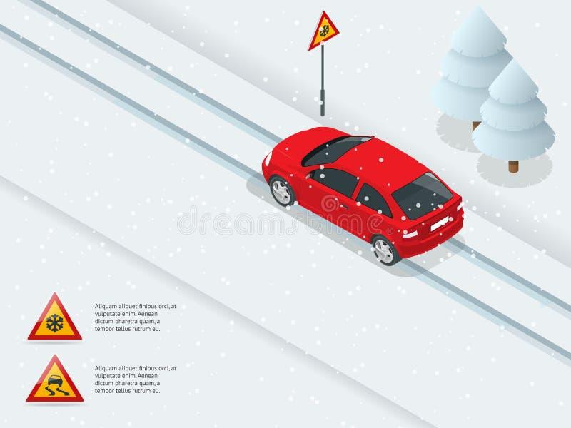 Isometric śliski, lodowy, zima, śnieżna droga i samochody, ilustracja wektor
