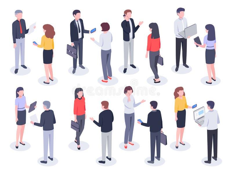Isometric άνθρωποι γραφείων Επιχειρησιακά πρόσωπα, υπάλληλος τραπεζών και επαγγελματική εταιρική διανυσματική τρισδιάστατη απεικό ελεύθερη απεικόνιση δικαιώματος