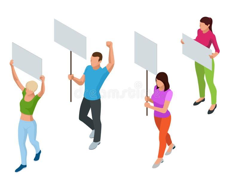 Isometric άνθρωποι διαμαρτυρίας με την αφίσσα και megaphones στην επίδειξη Επίδειξη, διαμαρτυρία, έννοια απεργίας απεικόνιση αποθεμάτων