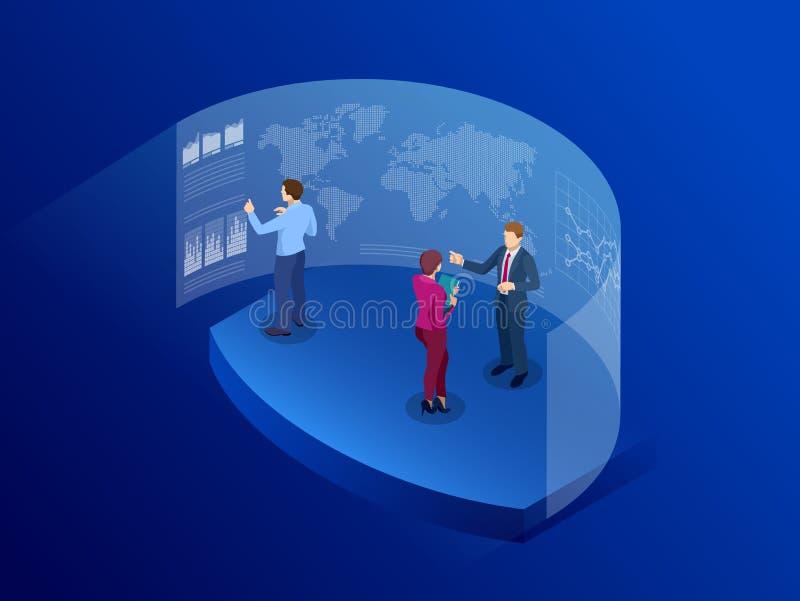 Isometric άνθρωποι μπροστά από την οθόνη για την επιχείρηση ανάλυσης στοιχείων Τεχνολογία επικοινωνιών πληροφοριών ψηφιακός απεικόνιση αποθεμάτων