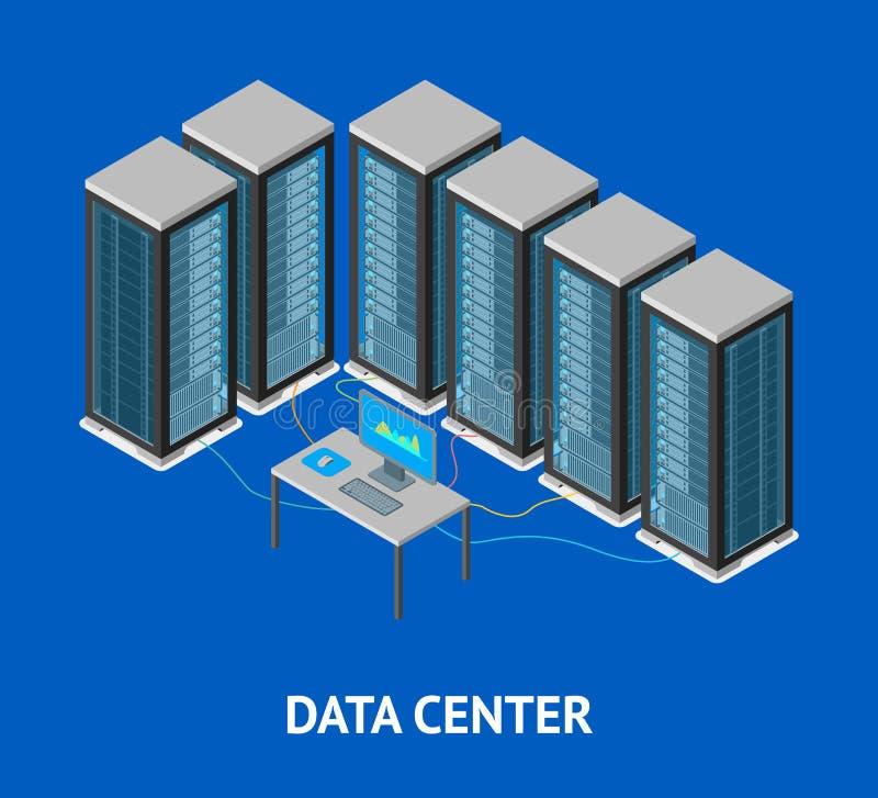 Isometric άποψη καρτών αφισών κέντρων δεδομένων διάνυσμα απεικόνιση αποθεμάτων