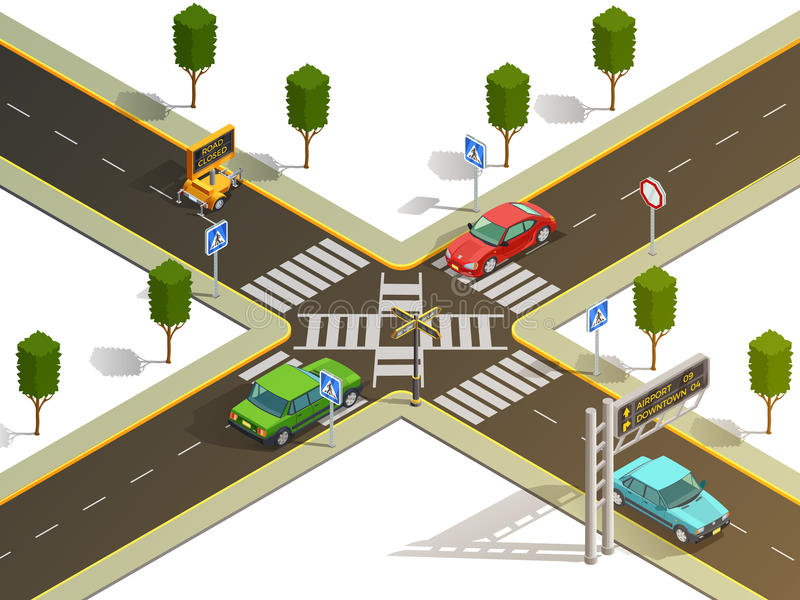 Isometric άποψη ναυσιπλοΐας κυκλοφορίας διασταύρωσης πόλεων διανυσματική απεικόνιση
