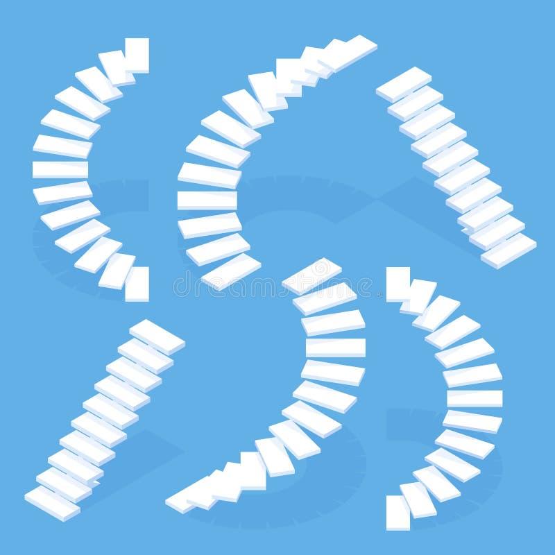 Isometric άσπρη σκάλα συνόλου της εκλεκτής ποιότητας σκάλας, stepladder διανυσματική απεικόνιση