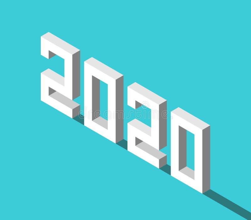 Isometric άσπρο έτος του 2020 διανυσματική απεικόνιση