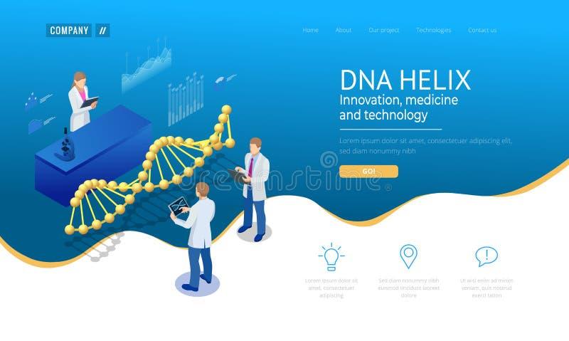 Isometric έλικας DNA, DNA που αναλύει την έννοια μπλε ψηφιακός ανασκόπησης Καινοτομία, ιατρική, και τεχνολογία Ιστοσελίδας ή ελεύθερη απεικόνιση δικαιώματος