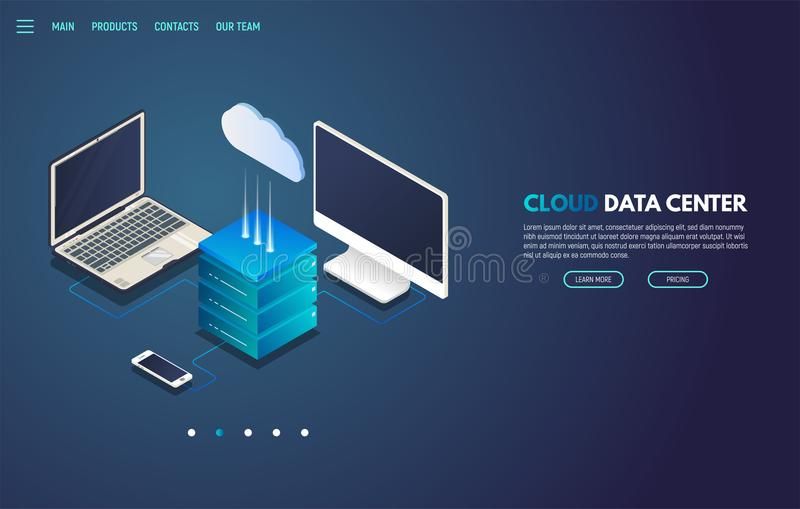 Isometric έμβλημα αποθήκευσης σύννεφων διανυσματική απεικόνιση