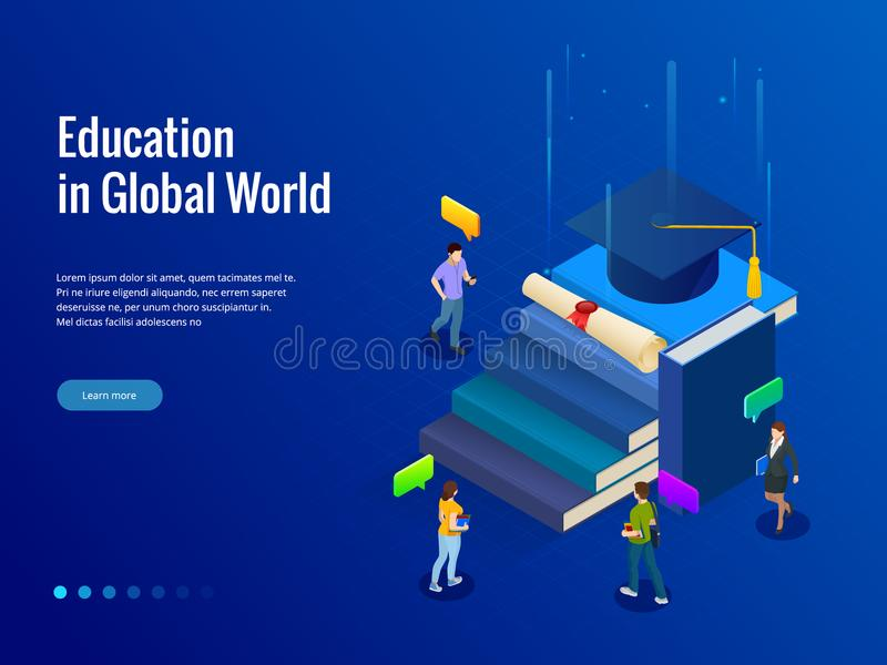 Isometric έμβλημα για την εκπαίδευση Ιστού στο σφαιρικό κόσμο, σε απευθείας σύνδεση έννοια εκμάθησης Εκπαίδευση βημάτων βιβλίων ε ελεύθερη απεικόνιση δικαιώματος