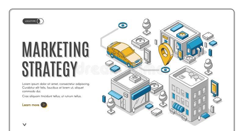 Isometric έμβλημα Ιστού εμπορικής στρατηγικής, προγραμματισμός διανυσματική απεικόνιση